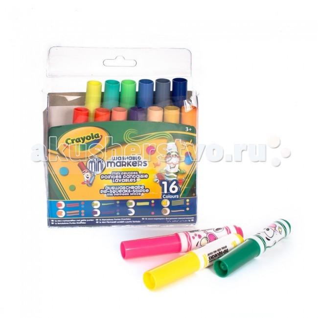 Фломастеры Crayola мини с узорными наконечниками 16  шт. фломастеры crayola для рисования по стеклу 8 шт