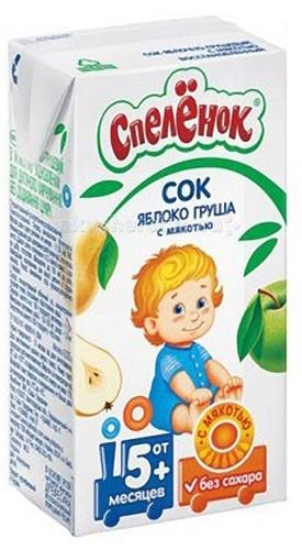 Соки и напитки Спеленок Сок Яблоко-груша с мякотью с 5 мес. 125 мл спеленок пюре морковь с яблоком с 5 мес 80 гр