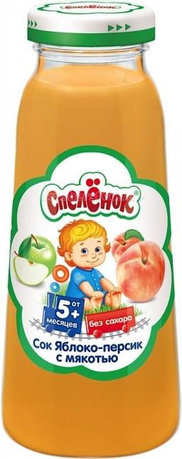 Соки и напитки Спеленок Сок Яблоко-персик с мякотью с 5 мес. 200 мл агуша сок детский с мякотью без сахара яблоко банан 200 мл
