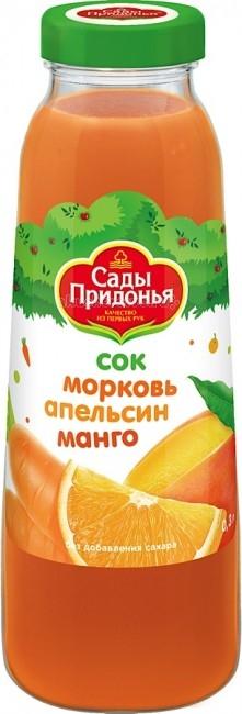 Соки и напитки Сады Придонья Сок Морковь, апельсин, манго с 12 мес. 300 мл спеленок пюре морковь с яблоком с 5 мес 80 гр