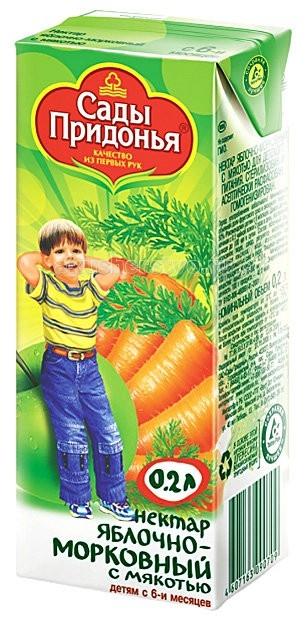 Соки и напитки Сады Придонья Нектар Яблоко и морковь с мякотью с 6 мес. 200 мл соки и напитки спеленок нектар морковь с мякотью с 4 мес 200 мл