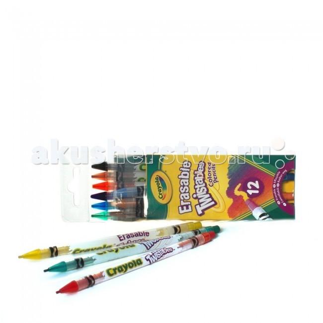 Карандаши, восковые мелки, пастель Crayola Карандаши выкручивающиеся 12 шт. crayola мелки восковые треугольные смываемые 16 шт