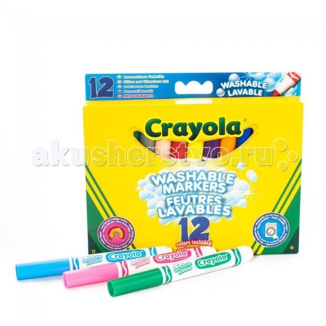 Фломастеры Crayola Набор из 12 смываемых фломастеров в универсальной упаковке