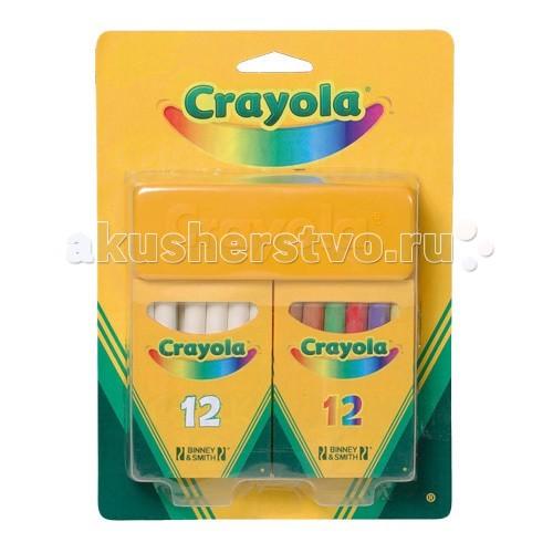 Мелки Crayola Набор из 12 белых и 12 цветных мелков crayola мелки восковые треугольные смываемые 16 шт