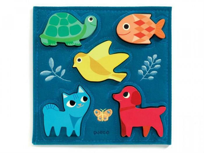Купить Деревянные игрушки, Деревянная игрушка Djeco Пазл-вкладка Котёнок и друзья