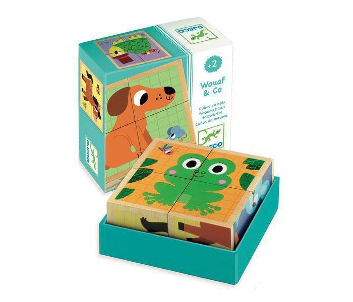 Деревянные игрушки Djeco Кубики Друзья 4 шт. кубики scratch giant stacking tower farm от 3 лет 5 шт