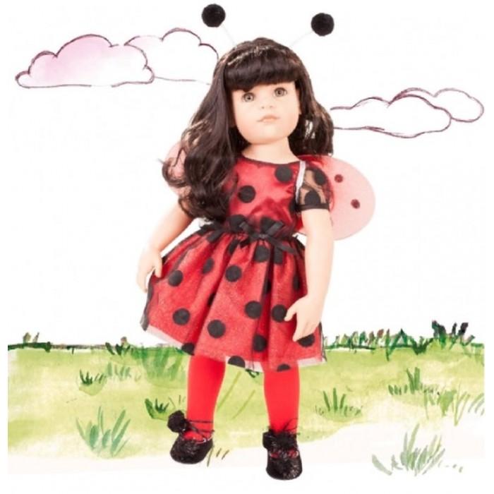 Gotz Кукла Ханна с одеждой 33 смКукла Ханна с одеждой 33 смGotz Кукла Ханна с одеждой 33 см - эта прелестная кукла в костюме божьей коровки станет замечательным подарком для каждой девочки. С красивой куклой, которая так похожа на настоящую девочку, можно проводить много времени вместе, придумывая увлекательные сюжеты для игр.   Кукла Ханна с твердым виниловым телом подходит для активных игр дома и на улице. Куклу можно переодевать и делать различные прически. Ручки и ножки у куклы не сгибаются. Голова поворачивается. Глазки не закрываются.   Кукла, одежда и аксессуары выполнены из качественных материалов с учетом необходимых стандартов, соответствующих европейским нормативам. Куклу можно мыть, для поддержания одежды в опрятном виде рекомендуется щадящая машинная стирка при температуре 30 градусов.   В наборе:  Кукла Ханна  Платье Крылышки Колготки Балетки Ободок Вязаная кофта Джинсовый костюм с ремнём<br>