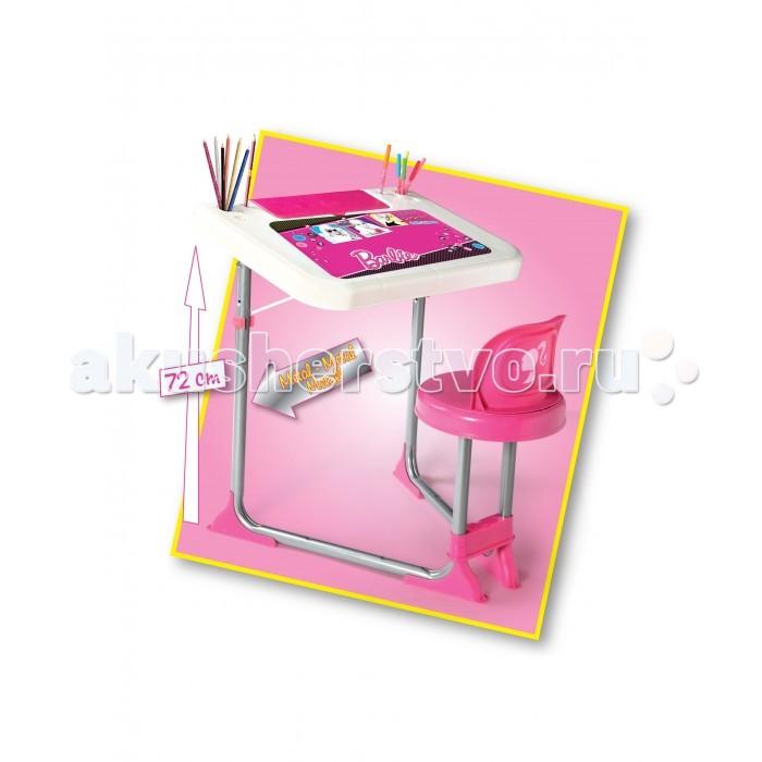 Faro Парта БарбиПарта БарбиFaro Парта Барби - детская парта для девочки выполнена в розовых тонах в стиле Барби. На рабочей поверхности есть множество ярких рисунков, а также имеется удобный подстаканник для карандашей и ручек.   Наклон парты регулируется в двух положениях. Ножки стула и парты выполнены из металла, сиденье стула и рабочая поверхности парты – из прочного пластика.   Рекомендуется для детей от 3-х лет.<br>