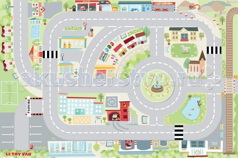 Игровой коврик LeToyVan Город 120x80 смГород 120x80 смLeToyVan Игровой коврик Город 80х120.  Самый привлекательный по цвету, назначению и функциям игровой коврик для мальчиков и даже для девочек! Прекрасная прорисовка всех деталей, красивый рисунок и натуральные цвета, превосходное качество материалов.Коврик можно использовать как украшение детской комнаты, защиту для ребенка во врем игр на полу, но самое интересное это иметь возможность играть на тематическом поле, где есть место для развития воображения, мышления и огромного кол-ва придуманных ребенком игр.   Ведь на коврике изображен целый город с домами и дорогами, парки и фонтаны, машины и здания, железная дорога и многие другие объекты, которые ребенок может увидеть вокруг себя на прогулке.Коврик можно использовать в различных сюжетных играх с любыми игрушками. Размеры коврика позволяют играть на нем сразу нескольким детям одновременно. Взрослому человеку легко будет научить ребенка основным цветам, типам предметов или разыграть небольшую сценку из жизни людей в городе.   В нашем интернет-магазине представлены парковки и гаражи, наборы дорожных знаков, машинок, других транспортных средств, в том числе и оснащение Города - все эти игрушки вам могут пригодиться сразу или в будущем. Пожалуйста, обратите внимание и на сопутствующие товары для игрового коврика Город в разделе Парковки и машинки.Другие рисунки на игровых ковриках можно посмотреть в общем разделе Коврики игровые.  Игровой коврик Город: размер коврика 120 х 80 см изготовлен из нетканного материала высокого качества благодаря прорезиненной противоскользящей основе подходит для любых напольных покрытий превосходное качество нанесения рисунка, отличная детализация и четкость картинки уникальный дизайн удобен для хранения сворачивается рулоном.<br>