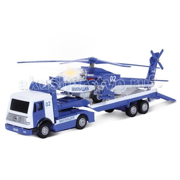 Машины Технопарк Набор трейлер Милиция с вертолетом технопарк технопарк набор милиция со светофором и фигурками