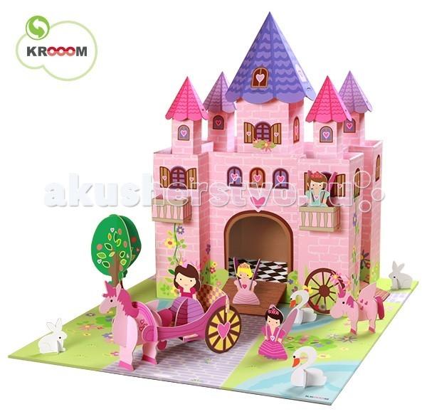 Krooom Волшебный замок принцессы ТринниВолшебный замок принцессы ТринниKrooom Игровой набор Волшебный замок принцессы Тринни.  Фантазии маленьких девочек – это сказочный мир принцесс и волшебных фей, способных творить чудеса. Куклы в длинных воздушных платьях, замки с башнями, кареты, которые увозят на бал. Волшебство – вот, о чем мечтают маленькие красавицы. Чтобы исполнить свою мечту, родители часто ищут, где купить домик для фей, чтобы сделать игры для своей девочки еще ярче и увлекательнее. Набор выполнен из высококачественного картона с глянцевыми, ламинированными поверхностями. Благодаря специальной пропитке картон обладает повышенной влагоустойчивостью. В производстве используются только экологически чистые материалы.  Волшебство начинается с того, что полностью готовое изделие из плоского состояния собирается в объёмное без использования каких-либо инструментов.  Игровой набор очень интересен и увлекателен, так как состоит из множества аксессуаров для разнообразных игр. В комплект входит большое игровое поле, на котором изображены: замощенные дорожки, два пруда, трава и цветы. У замка 5 разноцветных башен: 2 розовые, 2 сиреневые и 1 центральная - синяя. Внутреннее пространство двухуровневое. Сверху красивое пространство, по которому герои могут перемещаться от одной башни к другой, а так же танцевать. У замка 3 входа с трапами. С двух сторон от центральных ворот есть два балкона. Есть все необходимое для игры: 3 феи, 1 принцесса, 2 лебедя, 2 зайчика, 2 единорога, карета, дерево. Весь замок полностью разрисован: стены из нежно розового кирпича, черепица на крыше, окошки со ставнями, красивая плитка на полу, обвивающие стены растения и цветы.  Этот набор поможет малышу развить пространственное мышление, координацию и ловкость, мелкую моторику и цветовое восприятие. Придумывая новые сюжеты и примеряя на себя различные роли, ребенок адаптируется в социальном плане, учится общаться и вести тематические диалоги. Яркая и интересная детская игрушка Волшебный замок п