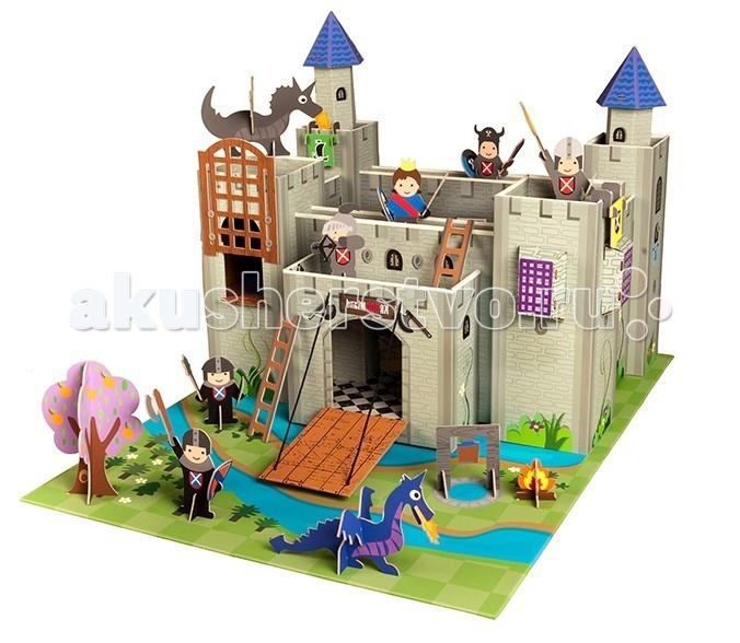 Krooom Рыцарский замок короля АртураРыцарский замок короля АртураKrooom Игровой набор Рыцарский замок короля Артура.  Яркий, интересный и красивый Рыцарский замок короля Артура - будет очень хорошим подарком для любого мальчишки. С его помощью рыцари, волшебники, драконы и другие сказочные персонажи легко обживут эту волшебную страну. А в перерывах между играми все герои сражений смогут мирно отдыхать за высокими и неприступными стенами.  Набор выполнен из высококачественного картона с глянцевыми, ламинированными поверхностями. Благодаря специальной пропитке картон обладает повышенной влагоустойчивостью. В производстве используются только экологически чистые материалы. Волшебство начинается с того, что полностью готовое изделие из плоского состояния собирается в объёмное без использования каких-либо инструментов.  Игровой набор очень интересен и увлекателен, так как состоит из множества аксессуаров для разнообразных игр. В комплект входит большое игровое поле, на котором изображены защитные рвы с водой и трава. У замка несколько башен: тюремная башня с поднимающейся решеткой, две башни со смотровыми площадками, две синие закрытые башни. Внутреннее пространство замка имеет галереи по которым герои могут перемещаться от одной башни к другой. Ворота открываются, образуя перекидной мост. Над воротами имеется широкая площадка. В комплект входят два съемных герба, которые можно повесить в разных местах. Так же есть две приставные лестницы разной длинны. Есть все необходимое для игры: фигурки рыцарей: 2 черных и 3 серых; различные виды оружия: 2 меча, палица, секира; 2 факела; фигурка короля; 2 огнедышащих дракона. За воротами установлена гильотина, разложен костер и растет дерево.  Этот набор поможет малышу развить пространственное мышление, координацию и ловкость, мелкую моторику и цветовое восприятие. Придумывая новые сюжеты и примеряя на себя различные роли, ребенок адаптируется в социальном плане, учится общаться и вести тематические диалоги. Яркая и интересная детска