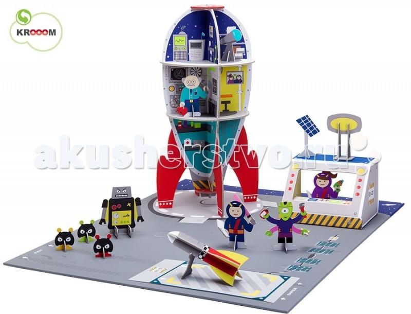Krooom Игровой набор Галактическая станция 738Игровой набор Галактическая станция 738Krooom Игровой набор Галактическая станция 738.  Замечательный игровой набор. С ним игра выйдет на космический уровень. Наземный центр управления и супер оснащенная ракета на страже порядка во Вселенной. В комплект входит большое и яркое игровое поле, на которое нанесена разметка, место стоянки космического корабля и ракеты-зонда, солнечные батареи, а за границей станции звездные космические просторы. Космическая ракета имеет три уровня для размещения всех систем жизнеобеспечения. Обсерваторию для наблюдения за космосом, мощный радар, лабораторию, комнату отдыха и кухню. Внутри ракеты имеется движущийся лифт.   Рядом с ракетой находится центр управления с радаром и солнечной батареей. А также ракета - зонд. В комплект входят фигурки персонажей: ученый, 2 космонавта, 4 пришельца, робот.Набор выполнен из высококачественного картона с глянцевыми, ламинированными поверхностями. Благодаря специальной пропитке картон обладает повышенной влагоустойчивостью. В производстве используются только экологически чистые материалы.  Волшебство начинается с того, что полностью готовое изделие из плоского состояния собирается в объёмное без использования каких-либо инструментов.  Этот набор поможет малышу развить пространственное мышление, координацию и ловкость, мелкую моторику и цветовое восприятие. Придумывая новые сюжеты и примеряя на себя различные роли, ребенок адаптируется в социальном плане, учится общаться и вести тематические диалоги. Яркая и интересная детская игрушка Галактическая станция 738 стимулирует умение малыша фантазировать и формирует творческое мышление.  Описание и характеристики В игровой набор Галактическая станция 738 входит: Большое игровое поле размером 73 х 56 см. На поле изображена территория космической станции, нанесены места стоянки космического корабля и корабля-зонда Космическая ракета с: обсерваторией, лабораторией, кухней, спальней, машинным отделением и лифтом. Ра