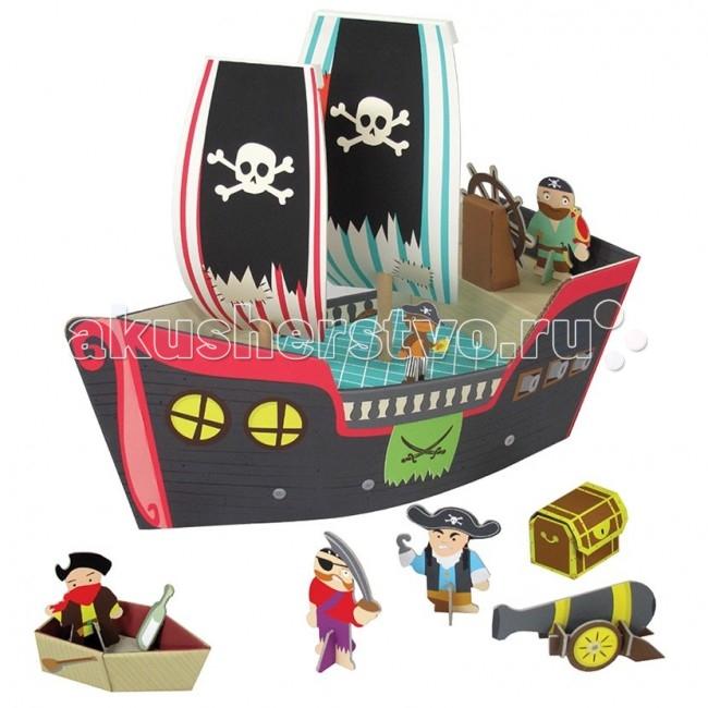 Krooom Игровой набор Пиратский корабль КуперИгровой набор Пиратский корабль КуперKrooom Игровой набор Пиратский корабль Купер.  Если Вы хотите доставить радость Вашему малышу – вручите ему легендарный пиратский корабль Купер.Каждый мальчишка мечтает окунуться в мир приключений и почувствовать себя смелым пиратом, бороздящим опасные просторы Карибского моря. Играя в сюжетные игры и создавая свой увлекательный мир, ребенок пробуждает у себя творческое мышление и фантазию. Набор выполнен из высококачественного картона с глянцевыми, ламинированными поверхностями. Благодаря специальной пропитке картон обладает повышенной влагоустойчивостью. В производстве используются только экологически чистые материалы.   Волшебство начинается с того, что полностью готовое изделие из плоского состояния собирается в объёмное без использования каких-либо инструментов. Игровой набор очень интересен и увлекателен, так как состоит из множества аксессуаров для разнообразных игр. В комплект входит большой корабль. У корабля два паруса с пиратской символикой, капитанский мостик со штурвалом. Корабль полностью раскрашен. В комплект входят спасательная лодка, пушка и сундук, а так же фигурки пиратов.  Этот набор поможет малышу развить пространственное мышление, координацию и ловкость, мелкую моторику и цветовое восприятие. Придумывая новые сюжеты и примеряя на себя различные роли, ребенок адаптируется в социальном плане, учится общаться и вести тематические диалоги. Яркая и интересная детская игрушка Пиратский корабль Купер стимулирует умение малыша фантазировать и формирует творческое мышление.  Описание и характеристики В игровой набор Пиратский корабль Купер входит: Большое корабль Паруса с пиратской символикой, капитанский мостик со штурвалом  Пушка, спасательная лодка, сундук Фигурки персонажей: капитан, пират с попугаем, однорукий пират, одноглазый пират, обезьянка Удобная упаковка. Девиз этой серии игрушек: Легкость, но надёжность и сила. Набор изготовлен из прочного, высококачественного 