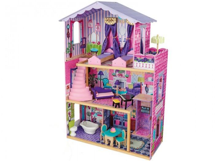 KidKraft Кукольный домик Особняк мечты с мебелью 13 элементовКукольный домик Особняк мечты с мебелью 13 элементовKidKraft Особняк мечты, с мебелью 13 элементов.  Очень красивый, большой и полностью открытый кукольный домик Особняк мечты с набором кукольной мебели для девочек от 3 до 10 лет. Сиреневый домик сделан в классическом викторианском стиле, внутри разукрашен под настоящий интерьер с элементами декора и включает много элементов кукольной мебели для кукол высотой 30 см куклы Winx, Barbie, Bratz.   13 красочных предметов мебели Разноуровневый дизайн домика Две великолепных кровати с пологом Открытая веранда Лифт для кукол с новым скользящим дизайном Винтовая парадная лестница Большие окна, через которые видно все пространство домика Домик настолько большой, что в него могут играть одновременно несколько девочек Домик подходит для всех современных кукол высотой 30 см Домик сделан из дерева Упакован в картонную коробку с подробными инструкциями по сборке.<br>