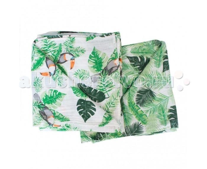 Постельные принадлежности , Пеленки Bebe au Lait Muslin Rio/Palms 2 шт. арт: 547031 -  Пеленки