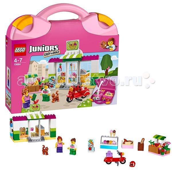 Конструктор Lego Juniors 10684 Лего Джуниорс Чемоданчик СупермаркетJuniors 10684 Лего Джуниорс Чемоданчик СупермаркетКонструктор Lego Juniors 10684 Лего Джуниорс Чемоданчик Супермаркет  Мобильный и компактный чемоданчик LEGO® Juniors Супермаркет всегда с тобой! Построй супермаркет и ярко-красный скутер, с помощью которого можно развезти заказы. Выбери вкусное мороженое, положи продукты в корзину и погладь дружелюбного кота.   Этот набор для начинающих очень прост в сборке. Понятные инструкции позволяют детям быстро получить результат и приступить к игре.   В набор входят 2 минифигурки: продавец-консультант и покупатель.  В комплекте 3 минифигурки с аксессуарами:  - продавец-консультант - покупатель - кот.  Количество деталей: 150 шт.<br>