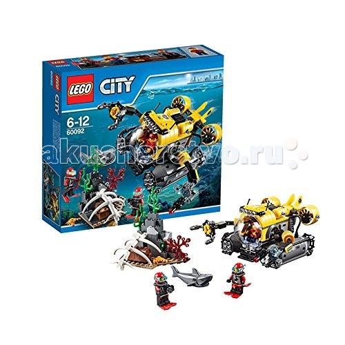 Конструктор Lego City 60092 Лего Город Глубоководная подводная лодкаCity 60092 Лего Город Глубоководная подводная лодкаКонструктор Lego City 60092 Лего Город Глубоководная подводная лодка  Конструктор LEGO City собирается из 274 деталей и включает 3 минифигурки.  Большая подводная лодка оснащена кабиной с круглым прозрачным стеклом, двумя руками-манипуляторами с подвижными сочленениями. Сзади расположены 2 двигателя, внизу - большие турбины. Сундук с сокровищами спрятан около скалы, под большим скелетом акулы. Кстати, живая акула плавает рядом - дайверам надо быть осторожными, доставая драгоценности!  Количество деталей: 274 шт.<br>