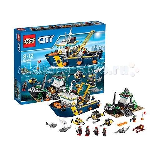 Конструктор Lego City 60095 Лего Город Корабль исследователей морских глубинCity 60095 Лего Город Корабль исследователей морских глубинКонструктор Lego City 60095 Лего Город Корабль исследователей морских глубин  Конструктор LEGO City собирается из 717 деталей и включает 7 минифигурки.  Большое исследовательское судно оборудовано работающим подъемным краном, необходимым, чтобы извлекать обломки кораблей и тяжелые сундуки с сокровищами. В передней части корабля расположен капитанский мостик со штурвалом и панорамным стеклом. Корабль оснащен множеством необходимых элементов, таких, как антенны спутниковой связи, спасательные круги, буйки.  Под судном, на морском дне, лежит затонувший корабль с полуразрушенным корпусом. Его исследуют дайверы. В их арсенале клетка для защиты от акул, глубоководный скутер, небольшой радиоуправляемый робот для преодоления завалов и батискаф с руками-манипуляторами.   В наборе Вы найдете 3 фигурки акул (включая большую белую), рыбу-меч, осьминога.  Количество деталей: 717 шт.<br>