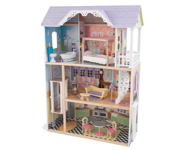 KidKraft Кукольный домик Кэйли 30 см с мебельюКукольный домик Кэйли 30 см с мебельюKidKraft Домик для кукол 30 см Кэйли.  Дом подходит для кукол высотой до 30 см куклы Monster High, Winx, Barbie, Bratz. Размеры дома 81,3 х 33 х 117,5 см. Классический особняк выполнен в нежных голубых, розовых и желтых тонах, оснащен всем необходимым для игры и такой большой, что в него могут играть сразу несколько девочек. Трехэтажный дом включает две комнаты, ванную, кухню-столовую, ажурную винтовую лестницу и лифт. На третьем этаже есть балкон. Дом открытый и через большие окна видно все пространство дома. Часть интерьеров в комнатах тщательно прорисованы. В комплект входят 10 разноцветных элементов мебели.   Поставляется вместе с подробной, пошаговой инструкцией по сборк 10 красочных предметов мебели. Нежные цвета, которые не утомляют глаз Три этажа Ажурная винтовая лестница Большие окна Большой балкон на третьем этаже Домик настолько большой, что в него могут играть одновременно несколько девочек Домик подходит для всех современных кукол высотой 30 см Домик сделан из дерева Упакован в картонную коробку с подробными инструкциями по сборке.<br>