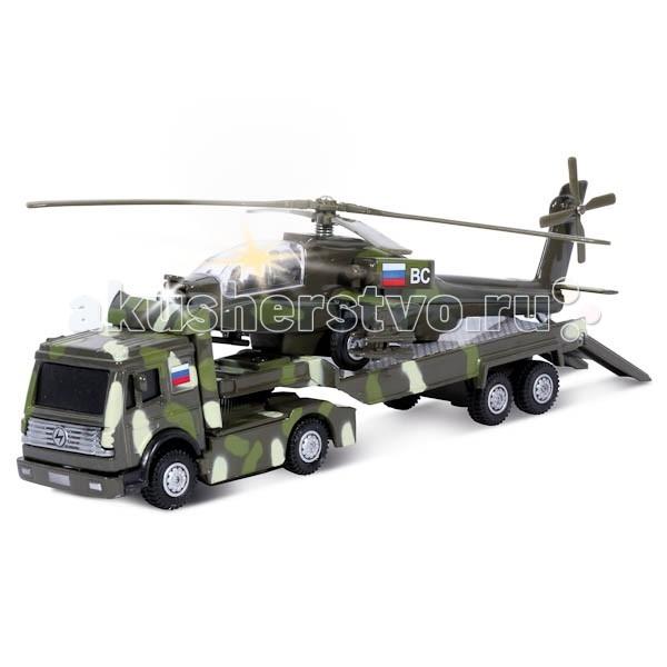 Машины Технопарк Трейлер Военный с вертолетом