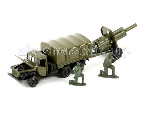 Машины Технопарк Машина Урал военный с пушкой технопарк газ 66 с пушкой