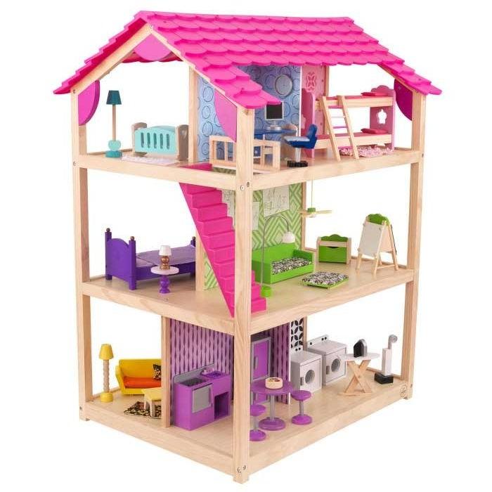 KidKraft Кукольный домик Самый роскошный с мебелью 50 элементовКукольный домик Самый роскошный с мебелью 50 элементовKidKraft Кукольный домик Самый роскошный, с мебелью 50 эл.  Cовременный и красочный домик для Барби, оборудованный всеми аксессуарами, необходимыми для игры. Этот самый роскошный кукольный дом состоит из 3 этажей, на которых расположены 10 больших комнат. Он выглядит почти как настоящий, не имеет внешних стен и полностью просматривается. Подходит для игры всеми современными куклами высотой 30 см, такими как Братц, Винкс и Барби. Размеры домика позволяют, чтобы с ним одновременно играли несколько детей. Если Вы хотите помочь Вашему ребенку дополнить и разнообразить сюжетно-ролевую игру, скопировать семейный быт и перенести его в игрушечный мир, Вам просто необходимо купить этот замечательный кукольный дом. 3 этажа особняка для Барби соединены между собой двумя розовыми лестницами, в нем есть все, что необходимо для проживания большой кукольной семьи.  Описание кукольного домика: гостиная, столовая, кухня, прачечная – на первом этаже комната для отдыха и спальня – на втором этаже две детских комнаты, кабинет и ванная – на третьем этаже 50 предметов мебели, техники и аксессуаров, необходимых для повседневной жизни. Этот яркий и стильный кукольный дом произведен американской компанией KidKraft из самых высококачественных материалов, имеет все необходимые сертификаты. Так легко открыть для Вашего ребенка волшебный мир радости и игры - нужно просто заказать домик для Барби Самый роскошный на нашем сайте. Только у нас самые доступные цены и быстрая доставка.Самый большой и самый роскошный кукольный домик для Барби и для других кукол высотой до 30 см куклы Winx, Barbie, Bratz.  Домик выполнен в современном стиле, яркий, красочный и такой большой, что в него могут играть сразу несколько девочек или целый детский сад. Комнаты со всех сторон домика!Полностью открытый - нет внешних стен, а только внутренние перегородки и даже полотна крыши не полностью закрывают 