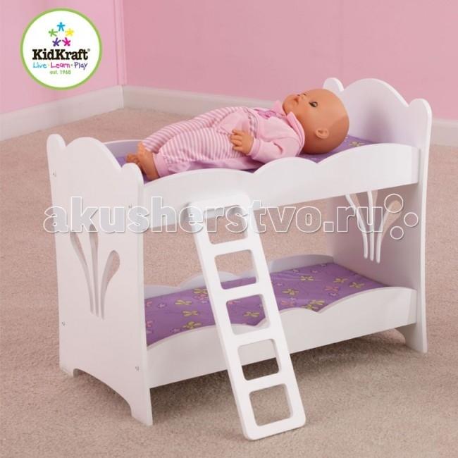 Кроватка для куклы KidKraft двухэтажная с бельемдвухэтажная с бельемKidKraft Мебель для кукол двухэтажная с бельем.  Двухэтажная кроватка с постельным бельем компании KidKraft (Кидкрафт) для двух кукол высотой до 48 см. Двухъярусная игрушечная кроватка, чтобы укладывать спать одновременно двух кукол. Лесенка на второй этаж. Кроватка продается вместе с комплектом постельных принадлежностей приятного лавандового цвета. В набор входит одеяло и подушка. Надежная и долговечная игрушка упакована в коробку с подробной инструкцией для сборки. кровать для двух кукол до 48 см высотой постельное белье в комплекте сделана из дерева лесенка на второй этаж подробная инструкция по сборке.<br>