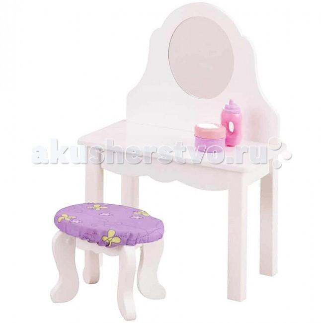 KidKraft Мебель для кукол Туалетный столик с банкеткойМебель для кукол Туалетный столик с банкеткойKidKraft Мебель для кукол Туалетный столик с банкеткой.  Красивыми бывают не только девочки, но и их куклы. Туалетный столик с зеркалом и банкеткой KidKraft подходит для кукол пупсов высотой до 48 см. Куклу можно посадить на круглую банкетку, причесать, накрасить... а на туалетном столике удобно разместятся все игрушечные принадлежности для красоты: кукольные расчески, заколки, духи и прочие аксессуары.  Банкетка имеет мягкое сидение лавандового цвета. А зеркало туалетного столика сделано из акриловой пластмассы.Набор мебели для кукол пупсов сделан из дерева, упакована в коробку с подробной инструкцией для сборки.  туалетный столик с зеркалом и банкеткой размер столика 30 cm L x 18 cm W x 47 cm H размер банкетки 18 cm L x 13 cm W x 14 cm H сделан из дерева подробная инструкция по сборке.<br>
