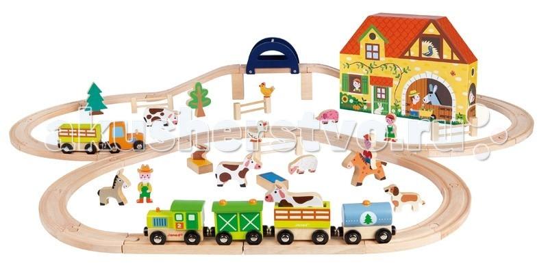 Janod Железная дорога ФермаЖелезная дорога ФермаJanod Железная дорога Ферма.   Железная дорога Ферма, 54 элемента, производства французской компании Janod, предназначена для детей от 3 лет.Железная дорога и паровозики с вагончиками были и остаются одними из самых популярных сюжетных игр. Предлагаем вашему вниманию большой набор, в который входит 54 элемента: рельсы, паровоз с вагонами, фигурки животных, растения, предметы обихода фермерского хозяйства. Все они изготовлены из натурального дерева.  Так же в комплект входит полностью раскрашенный фермерский дом с хозяйственными пристройками. Он выполнено из плотного картона и представляет собой коробку, в которой можно хранить машинки, вагончики и фигурки. В наборе есть фигурки домашних животных: три коровы, ослик, курица, утка, поросенок, овца, кролик, лошадка, собака. Животных можно перевозить в прицепе трактора и открытом вагоне. Так же в набор входят три фигурки фермеров.  Рельсы соединяются по принципу пазла.Паровоз и 3 вагончика, а так же трактор с тележкой сцепляются друг с другом при помощи магнитов. Набор упакован в красивую подарочную коробку. Отдельно можно приобрести набор треков для рельс.  Все игрушки и игровые наборы сделаны из натуральной древесины или картона Безопасные для контакта с ребенком краски Игрушки выставляют на международных выставках под маркой green toys зеленые игрушки, т.е. экологически безопасные Изысканный французский дизайн Превосходное качество - необыкновенно гладкая и приятная поверхность Нежное и красивое сочетание цветов Эксклюзивная подарочная упаковка.<br>