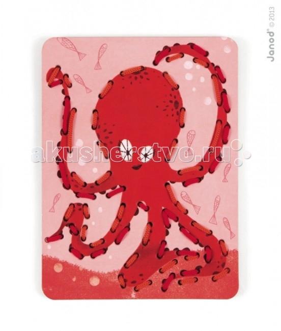 Развивающая игрушка Janod Шнуровка Животные 6 карт + 13 нитей
