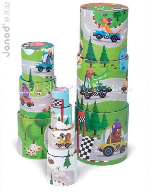 Развивающие игрушки Janod Пирамидка круглая Гонки 10 элементов сортеры janod игрушка пирамидка пингвинчик