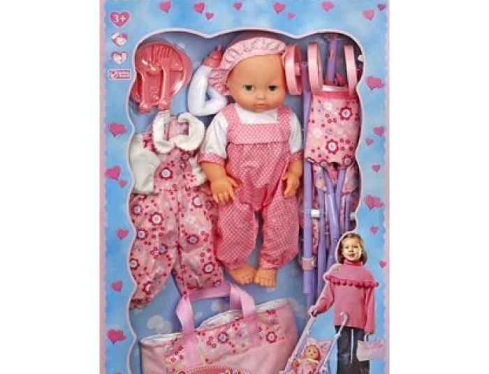 Куклы и одежда для кукол Lotus Onda Пупс с коляской и переноской 35 см куклы карапуз пупс карапуз 20см 3 функции пьет писает закрывает глазки в ванне с аксессуарами