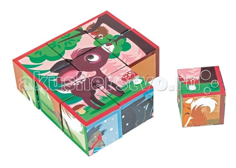 Развивающая игрушка Janod Кубики Лесные животныеКубики Лесные животныеJanod Кубики Лесные животные.  Кубики Лесные животные, 9 шт., производства французской компании Janod, предназначены для детей от 1,5 лет.Обратите свое внимание на замечательные кубики. Они сделаны из очень плотного картона с отличной полиграфией. Эксклюзивный французский дизайн.В наборе 9 кубиков, размер 1 кубика 5 x 5 x 5см. Из них можно сложить 6 картинок.  На картинках изображены лесные животные: симпатичная рыжая лисичка со своими друзьями снегирями; серый волк согревает маленькую мышку; белочка нашла орех, но в нем уже живет гусеница; сова беседует в ночи с паучком; милый олененок увидел на дереве ежика с яблоком и решил предложить свою помощь; последняя картинка — это групповой портрет всей дружной компании.  Играя, вы можете повторять с ребенком основные цвета, животных леса, считать и придумывать веселые истории.Эти кубики станут хорошим подарком для любого ребенка старше 18 месяцев. Они сделаны из очень плотного картона с отличной полиграфией и интересными сюжетами. Набор детских кубиков упакован в красивую коробочку с магнитным замочком, прозрачным окошком и переносной ручкой.  Описание товара: 9 кубиков, каждый размером 5х5 см можно сложить 6 красочных картинок с лесными животными плотный картон и отличная полиграфия оригинальный французский дизайн красивая подарочная упаковка с магнитным замочком, с прозрачным окошком и переносной ручкой.<br>