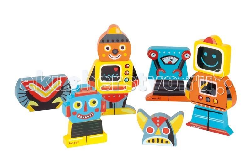 Деревянная игрушка Janod Фигурки магнитные Забавные роботыФигурки магнитные Забавные роботыJanod Фигурки магнитные Забавные роботы.  Развеселая компания ярких и симпатичных деревянных роботов, с удовольствием составит компанию любому малышу.В набор входит 4 фигурки, каждая из которых состоит из трех частей. Части соединяются между собой при помощи магнитов. Благодаря тому, что элементы достаточно крупные, ребенку будет не трудно брать их в ручки и игра ему долго не надоест.Составные части можно менять местами, при этом получаются совершенно новые роботы. Придумайте историю с участием этих персонажей и поиграйте с ребенком.  Играя, вы сможете повторить основные цвета: желтый, красный, оранжевый, синий, голубой, серый, черный, белый. В игровой форме начать осваивать счет — считать можно уже существующих роботов, а так же и тех, которые будут рождаться в процессе игры.Каждый из наборов этой серии магнитных фигурок станет замечательным подарком любому малышу от 18 месяцев. Яркие цвета, оригинальный французский дизайн, приятные на ощупь поверхности. Наборы упакованы в красивую подарочную коробку с удобной ручкой для переноски.  Описание товара: размер игрушки 8,2х1,5х15 см. приятные на ощупь поверхности оригинальный французский дизайн набор предназначен для детей от 1,5 лет красивая подарочная коробка с удобной переносной ручкой.<br>