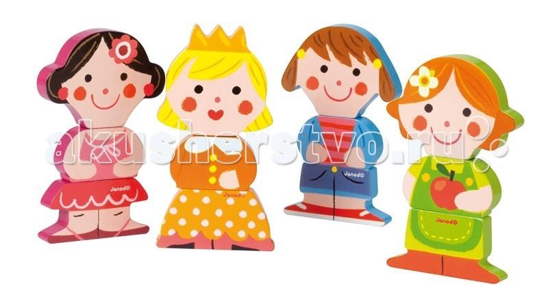 Деревянная игрушка Janod Фигурки магнитные Забавные куклыФигурки магнитные Забавные куклыJanod Фигурки магнитные Забавные куклы.  Предлагаем вашему вниманию ещё один набор из серии магнитных фигурок. Четыре очаровательных девочки, каждая со своим характером и настроением. Каждая фигурка состоит из трех частей, которые соединяются между собой при помощи магнитов. Благодаря тому, что составные части достаточно крупные, ребенку будет не трудно брать их в ручки и игра ему долго не надоест. Элементы можно менять местами, получая при этом новые образы. Эти персонажи легко впишутся в рассказ или сказку, которую вы придумаете вместе с ребенком.  Играя, вы сможете повторить основные цвета: розовый, красный, желтый, оранжевый, синий, голубой, зеленый, салатовый, коричневый, черный, белый. В игровой форме начать осваивать счет — считать можно уже существующих кукол, а так же и тех, которые будут рождаться в процессе игры.Каждый из наборов этой серии магнитных фигурок станет замечательным подарком для любого малыша от 18 месяцев. Яркие цвета, оригинальный французский дизайн, приятные на ощупь поверхности. Наборы упакованы в красивую подарочную коробку с удобной ручкой для переноски.  Описание товара: размер игрушки 8,4х1,5х13,5 см. приятные на ощупь поверхности оригинальный французский дизайн набор предназначен для детей от 1,5 лет красивая подарочная коробка с удобной переносной ручкой.<br>