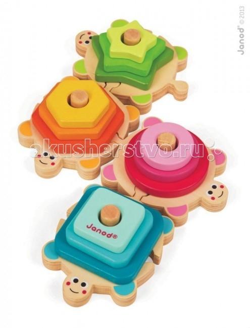 Деревянная игрушка Janod Пирамидка ЧерепахаПирамидка ЧерепахаJanod Сортер-пирамидка Черепаха.  Эта игрушка многофункциональна. Играя, ребенок повторяет основные цвета и геометрические формы, учится обобщать, считать и сортировать.Четыре симпатичные черепашки соединяются в веселую компанию по принципу пазла. Все они отличаются друг от друга потому, что домики у них на спине разноцветные и имеют разную форму: квадрат, шестиугольник, крест и овал. Черепашки могут ползти друг за другом гирляндой, по отдельности или так, как вы их соедините.  Используются основные цвета и оттенки: зеленый, желтый, розовый, голубой. Задача ребенка научиться сортировать элементы игрушки по цветам и форме, а также считать, нанизывать и удерживать небольшие элементы, используя пальчиковый захват. Переставьте местами черепашек и покажите ребенку, как изменится геометрическая форма всей композиции.  Французский производитель Janod позаботился о том, что бы сделать эту игрушку максимально привлекательной и безопасной для малышей. Игрушка выполнена из дерева и окрашена безвредными красками на водной основе. Самые натуральные и безопасные игрушки для малышей и детей постарше премиум-класса.  Все игрушки и игровые наборы сделаны из натуральной древесины или картона. Безопасные для контакта с ребенком краски на водной основе. Игрушки выставляют на международных выставках под маркой green toys зеленые игрушки, т.е. экологически безопасные Изысканный французский дизайн Превосходное качество - необыкновенно гладкая и приятная поверхность Нежное и красивое сочетание цветов Эксклюзивная подарочная упаковка.<br>