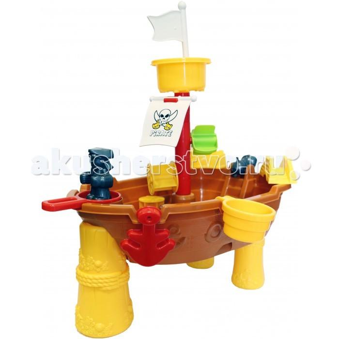 Игралия Столик-песочница Веселый Пляж Кораблик QQ-668Столик-песочница Веселый Пляж Кораблик QQ-668Игралия Стол-Песочница Веселый Пляж Кораблик + 16 предметов.  В комплекте: фигурка на мачту пиратский парус якорь 2 формочки совок грабли мельница ведро-черпак сборная конструкция<br>