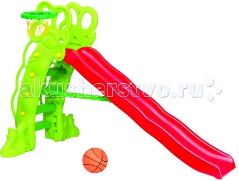 Горка BabyOne Ching-Ching Горошина SL-16Ching-Ching Горошина SL-16Горка Горошина с баскетбольным кольцом - это красочная горка с необычным дизайном в виде каскада. Эта горка поможет ребёнку развиваться в процессе игры. Она будет прекрасным украшением дома или загородного участка и излюбленным местом игр Вашего ребёнка и его друзей.   Удобство горки очевидно. Она безопасна, так как рассчитана на маленьких детей с учётом особенностей возраста. Удобные ступеньки и закруглённые бортики. Есть возможность установить горку на одном из двух уровней высоты.  Материалы: полый высокопрочный структурный пластик  Основные характеристики:   - рекомендована для детей от 1.5 до 7 лет - допустимая нагрузка - до 80 кг - устойчивая и функциональная, лёгкая в сборке - для использования внутри и вне помещений - два уровня наклона - длина спуска - 220 см - занимаемая площадь: 90 х 240 см - размеры: 236 х 88 х 160 см (ДхШхВ) - вес: 22 кг  Комплектация: пластиковая горка, лесенка, баскетбольное кольцо, мяч<br>