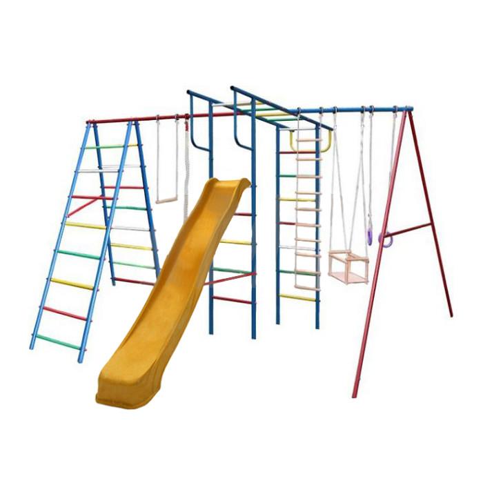 Вертикаль А+П Макси Детский спортивный комплекс с горкойА+П Макси Детский спортивный комплекс с горкойЕсли вы хотите быть спокойны за своих деток, уделяете внимание их физическому развитию, то приобретая им на радость детский спортивный комплекс для улицы и дачи, вы тем самым делаете инвестиции в их здоровье. Установленный в вашем дворе или на даче детский спортивный комплекс , сочетающий в себе элементы игры и спорта, станет излюбленным местом для весёлых игр и соревнований детворы. Играя в своё удовольствие на свежем воздухе, дети развиваются физически.   Изготавливаются детские уличные спортивные комплексы из экологичных материалов, при их производстве используется нержавеющая сталь, они устойчивы к атмосферным осадкам и перепадам температуры и рассчитаны на длительную эксплуатацию. Все модели детских спортивных комплексов для улицы и дачи сертифицированы и безопасны.   Шикарный дачный спортивный комплекс, оснащенный кольцами, канатами, качелями и горкой. Такой комплекс развлечет Ваших детей и позволит всегда оставаться в отличной спортивной форме.  Крепление: цементируются «стаканы», в которые устанавливаются стойки ДСК Высота дачного комплекса: 2.20 м Занимаемая площадь: 3.90 х 2.40 м Допустимая нагрузка: 90 кг Комплектация дачного комплекса: канат, кольца, качели, веревочная лестница, трапеция, горка 3м<br>