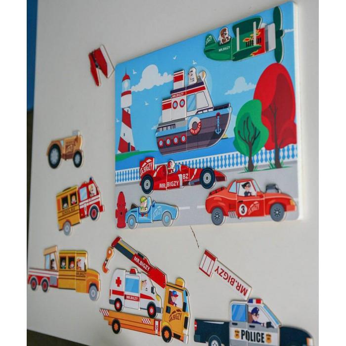 Деревянные игрушки Mr.Bigzy Магнитная игра Транспорт, Деревянные игрушки - артикул:553136