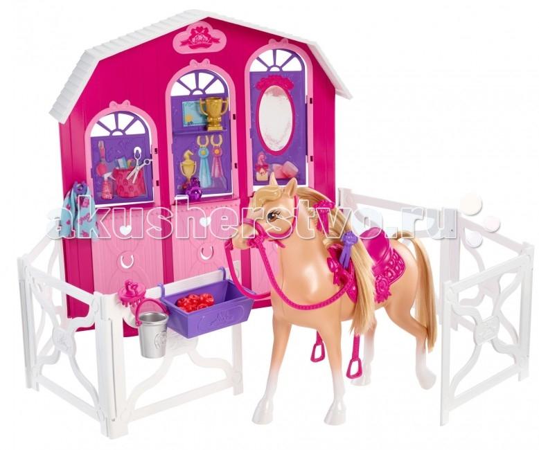 Barbie Игровой набор Барби и сестры в сказке о пони Конюшня и лошадьИгровой набор Барби и сестры в сказке о пони Конюшня и лошадьBarbie Игровой набор Барби и сестры в сказке о пони Конюшня и лошадь   Ваша Барби сможет как и в мультике обучиться верховой езде в конно-спортивной школе. Здесь есть всё что нужно. Собственно сама конюшня, рассчитанная на трёх лошадей. Одна лошадка для Барби. При необходимости вы можете поселить в конюшню ещё две лошади. И много разнообразных аксессуаров для верховой езды и ухаживания за лошадьми.  В комплекте: конюшня 1 лошадь аксессуары<br>