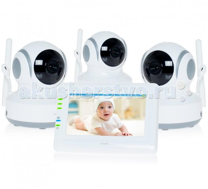 Ramili Видеоняня Baby RV900X3Видеоняня Baby RV900X3Видеоняня Ramili Baby RV900X3 представляет из себя надежное и безопасное устройство для удаленного наблюдения за ребенком, которое обеспечивает стабильную и приватную цифровую связь. Кроме основных характеристик, обеспечивающих стабильный мониторинг, видеоняня оснащена набором дополнительных функций, которые создают особенный комфорт родителям и безопасность для малыша.  Видеоняня оснащена системой активации при обнаружении плача (VOX) с настройкой чувствительности, которая позволяет экономить заряд аккумулятора и которую можно отключить для непрерывного мониторинга. Также в видеоняню Ramili встроен «умный» детектор движения, благодаря которому камера, отслеживая движение ребенка, автоматически поворачивается вслед за ним. Так что ваш малыш точно не выйдет из кадра.  Особенности: Три камеры в комплекте (три детских блока) Дальность приёма до 300 метров Дисплей 11 см (4,3 дюйма) Двухсторонняя связь Удаленное управление поворотом камеры Активация при обнаружении плача (VOX) с настройкой чувствительности и оповещением Возможен непрерывный мониторинг Световая индикация громкости плача Детектор движения Автоматический поворот камеры за передвижением ребенка Сенсорный экран Ночное видение Система защиты от помех Система преодоления преград Защищенная связь (100% приватность) Цифровой зум Колыбельные мелодии Таймер кормления Термометр измеряет температуру воздуха в детской, значение отображается на экране родительского блока Регулировка яркости экрана Подключение до 4 камер Автоматическое или ручное переключение между камерами Ёмкий аккумулятор внутри родительского блока Оповещение о низком заряде аккумулятора Оповещение о выходе из зоны приёма Возможно крепление на стене любого блока<br>
