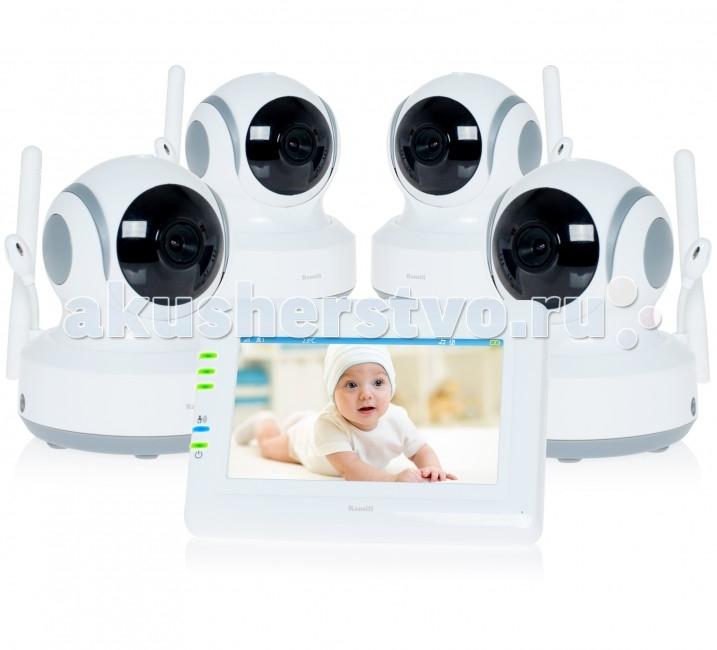 Ramili Видеоняня Baby RV900X4Видеоняня Baby RV900X4Видеоняня Ramili Baby RV900X4 представляет из себя надежное и безопасное устройство для удаленного наблюдения за ребенком, которое обеспечивает стабильную и приватную цифровую связь. Кроме основных характеристик, обеспечивающих стабильный мониторинг, видеоняня оснащена набором дополнительных функций, которые создают особенный комфорт родителям и безопасность для малыша.  Видеоняня оснащена системой активации при обнаружении плача (VOX) с настройкой чувствительности, которая позволяет экономить заряд аккумулятора и которую можно отключить для непрерывного мониторинга. Также в видеоняню Ramili встроен «умный» детектор движения, благодаря которому камера, отслеживая движение ребенка, автоматически поворачивается вслед за ним. Так что ваш малыш точно не выйдет из кадра.  Особенности: Четыре камеры в комплекте (четыре детских блока) Дальность приёма до 300 метров Дисплей 11 см (4,3 дюйма) Двухсторонняя связь Удаленное управление поворотом камеры Активация при обнаружении плача (VOX) с настройкой чувствительности и оповещением Возможен непрерывный мониторинг Световая индикация громкости плача Детектор движения Автоматический поворот камеры за передвижением ребенка Сенсорный экран Ночное видение Система защиты от помех Система преодоления преград Защищенная связь (100% приватность) Цифровой зум Колыбельные мелодии Таймер кормления Термометр измеряет температуру воздуха в детской, значение отображается на экране родительского блока Регулировка яркости экрана Подключение до 4 камер Автоматическое или ручное переключение между камерами Ёмкий аккумулятор внутри родительского блока Оповещение о низком заряде аккумулятора Оповещение о выходе из зоны приёма Возможно крепление на стене любого блока<br>