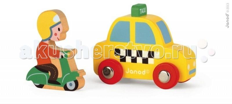 Деревянная игрушка Janod Набор Желтое такси с гонщиком