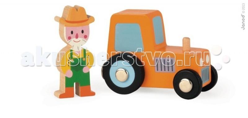 Деревянная игрушка Janod Набор Трактор и фермер
