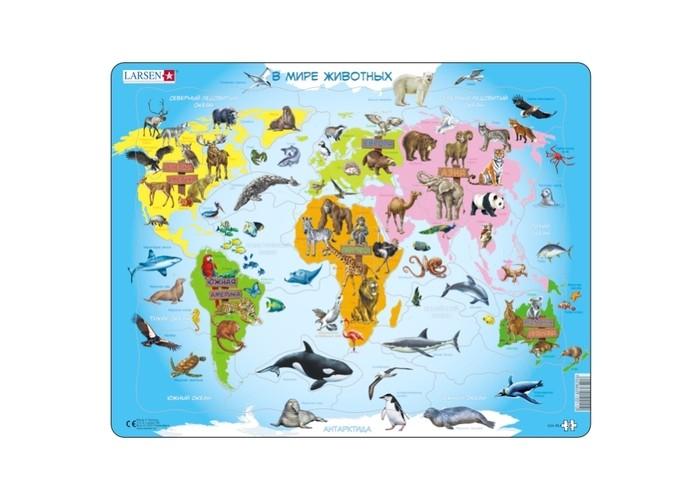 Картинка для Larsen Пазлы Карта мира с животными