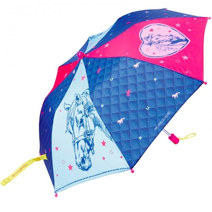 Детский зонтик Spiegelburg PferdefreundeДетские зонтики<br>Spiegelburg Зонт детский Pferdefreunde станет самым любимым аксессуаром в дождливую погоду для маленькой леди. По периметру он оснащен светоотражающей лентой для безопасного передвижения ребенка на улицах города.