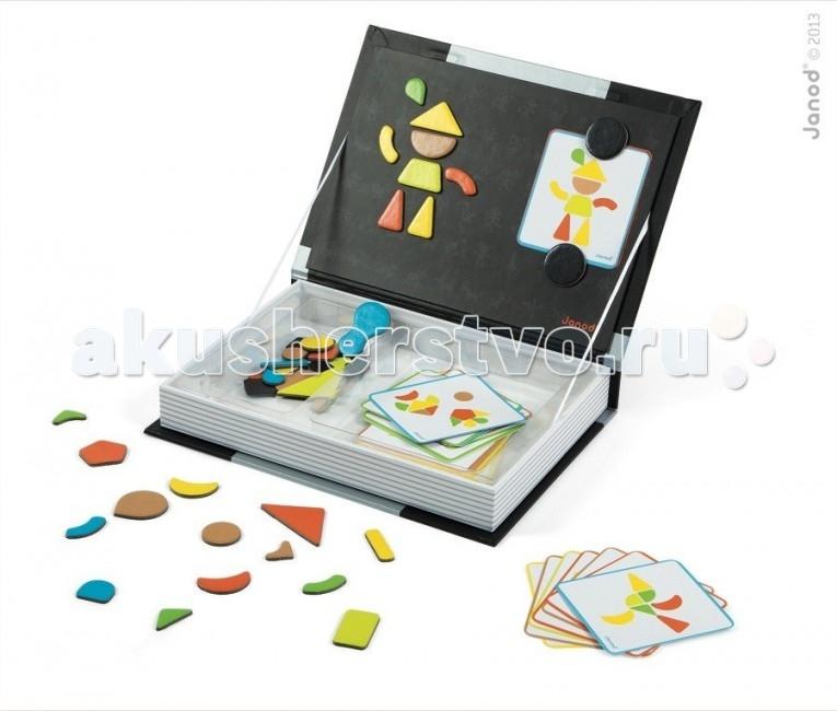 Janod Магнитная книга Мозаика в геометрииМагнитная книга Мозаика в геометрииJanod Магнитная книга Мозаика в геометрии.  Книга-игра с магнитами и карточками Мозаика в геометрии, производства французской компании Janod от 3 лет. Это книга-игра с магнитами и карточками. С её помощью вы поможете ребенку выучить основные цвета и геометрические фигуры. Объясните такое понятие как обобщение. Играя ребенок не только развивает творческие способности, художественный вкус, навыки моделирования и абстрактного мышления, но и учится концентрироваться. Размер книги - А4 30 иллюстрированных карточек с примерами 43 магнитных элемента: разноцветных и разной формы рекомендуемый возраст 3-8 лет.  Внешний вид - толстая книга формата А4, оформленная яркими иллюстрациями в соответствии с тематикой книги.Материал книги - плотный толстый картон. Внутренняя часть - свободное пространство. Внутри книги большая магнитная картинка обратная сторона обложки и отделения для карточек и магнитных элементов.Обложка книги - примагничивается к основному корпусу. В открытом состоянии фиксируется за счет натяжения ленточек, которые соединяют обложку с основным корпусом.  Яркие, красочные карточки задают тему игры с применением магнитиков и большой картинки. Благодаря таким игровым книгам можно придумывать с ребенком много веселых и интересных историй с применением карточек и магнитов. Вариантов игры огромное количество. Оригинальный дизайн и задумка, а также прекрасное качество исполнения.<br>