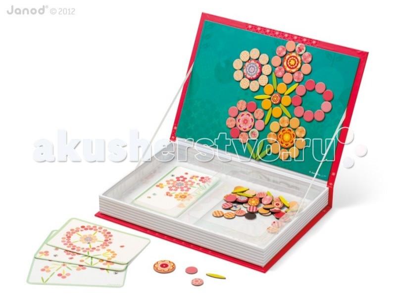Книжки , Книжки-игрушки Janod Магнитная книга большая Мозаика цветы арт: 56118 -  Книжки-игрушки